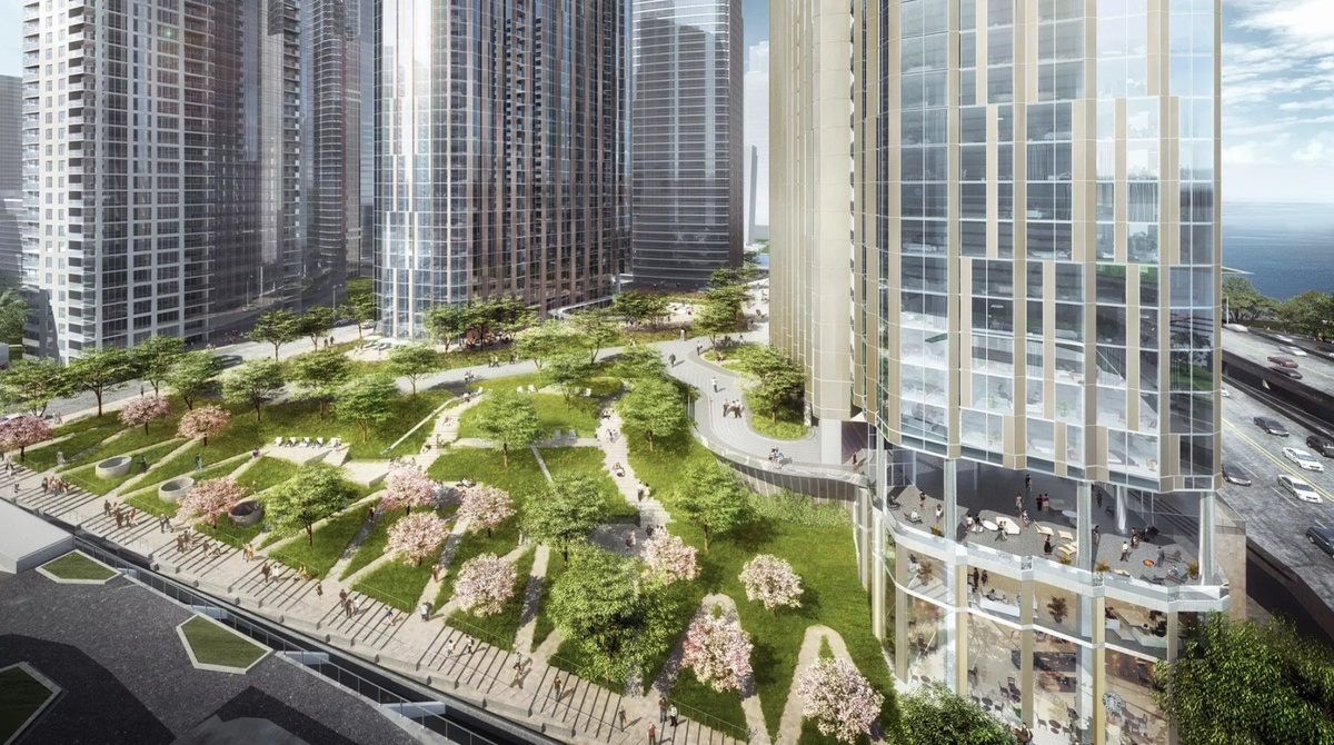 Revised three tower project for lakeshore east-1